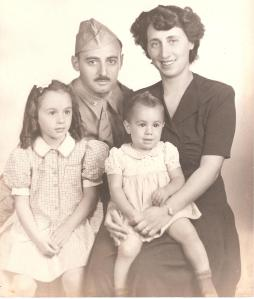 Captain Charles Spark, Betty Spark, Clare and Barbara Spark, ca.1942
