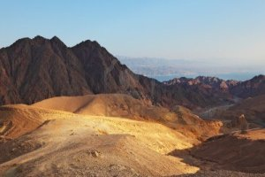 Sinai desert sunrise over Red Sea