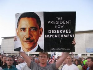 LaRouche demonstration sign