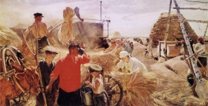 Arkady Plastov Threshing on the Collective