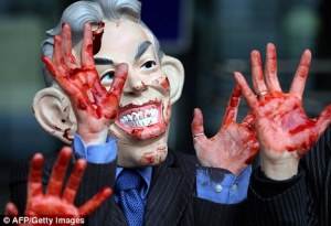 Anti-Iraq war image depicting Tony Blair