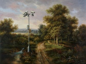 technology dominating nature; painting by Bansky