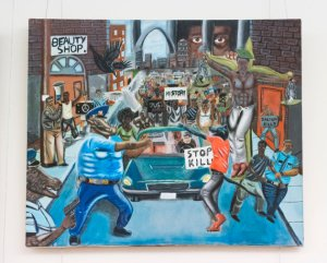 UNITED STATES - JANUARY 5: A controversial painting by Missouri student David Pulphus depicting police as animals hangs in the tunnel connecting the U.S. Capitol to the Cannon House Office building as part of the annual student art exhibit on Thursday, Jan. 5, 2017. The painting was selected as the 2016 Congressional Art Competition winner from Rep. William Lacy Clay's district in the St. Louis area. (Photo By Bill Clark/CQ Roll Call)